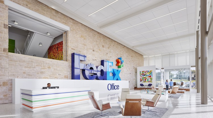 Fedex and print services facility citadel national construction group for Interior design services plano
